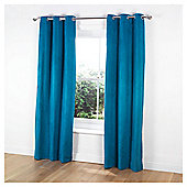 "Tesco Faux Suede Unlined Eyelet Curtains W168xL183cm (66x72""), Teal"