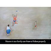Holy Mackerel No One In Our Family Can Throw A Frisbee Properly Greetings Card
