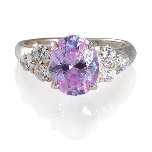 Sterling Silver Purple Cubic Zirconia Ring, Small