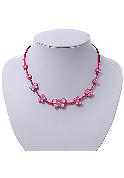 Children's Deep Pink Butterfly Necklace - 36cm Length/ 4cm Extension
