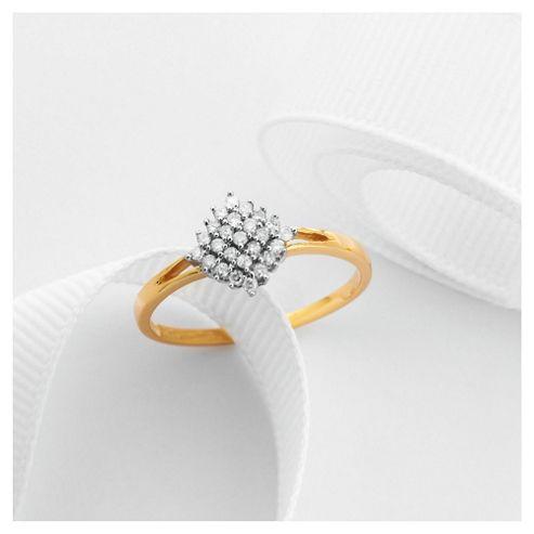 9ct Gold 25Pt Diamond Cluster Ring, L