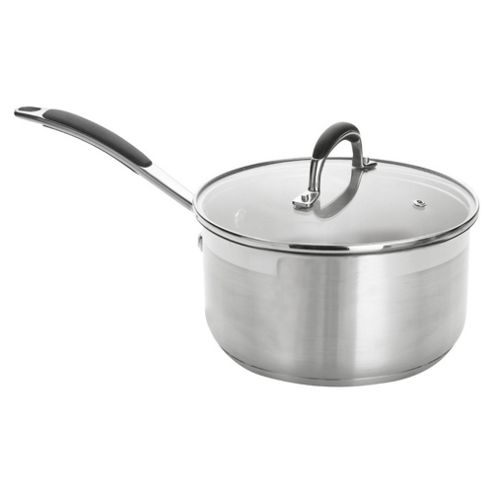 Go Cook 20cm Saucepan with Glass Lid, Stainless Steel