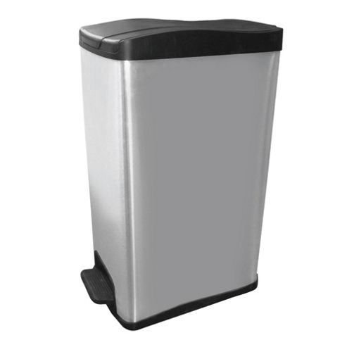 Slimline Polished Stainless Steel Bin 40L