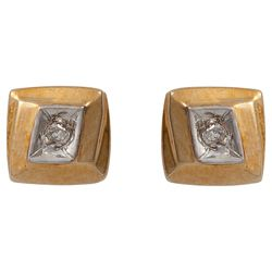 9ct Gold Diamond Square Earrings