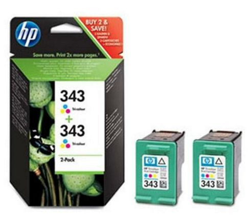 Hewlett-Packard No:343 2-pack Inkjet Print Cartridges Tricolour