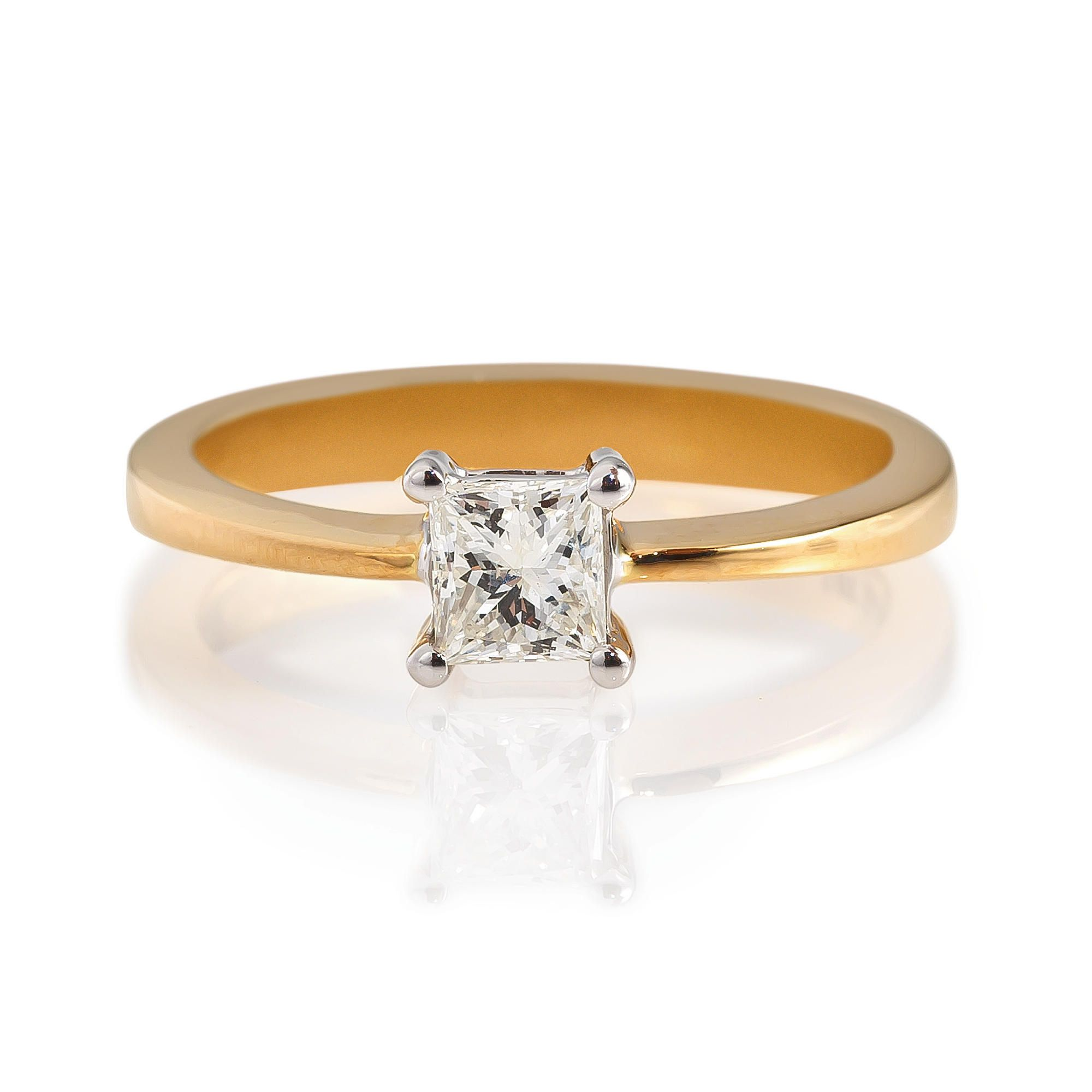 18ct Gold 1/2ct Diamond Princess Cut Ring, N at Tescos Direct