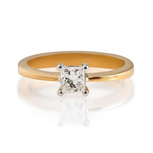 18ct Gold 1/2ct Diamond Princess Cut Ring, N