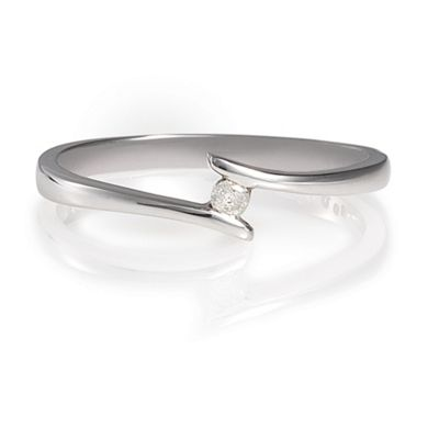 9ct White Gold Diamond Bypass Ring, N.