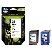 HP 21 / HP 22 Printer Ink Cartridge -  Black & Colour Multipack (SD367AE)