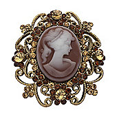 Antique Gold Plated, Topaz Crystal, Cameo Brooch