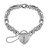 Jewelco London Sterling Silver Cubic Zirconia set padlock Charm Bracelet - Ladies