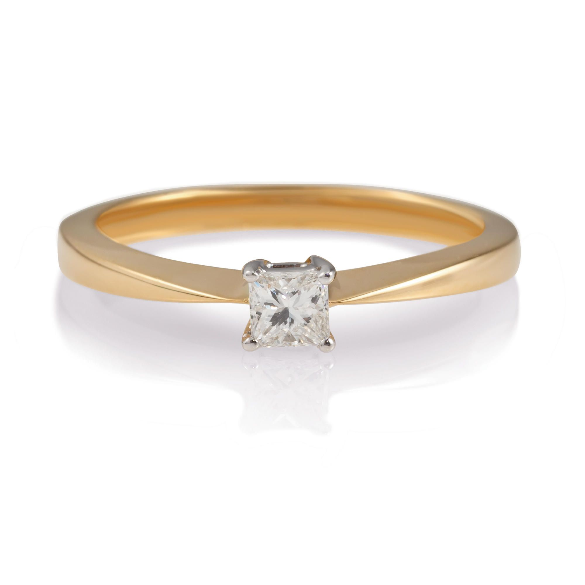 18ct Gold 1/4ct Princess Cut Ring,  P at Tesco Direct