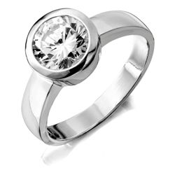 Sterling Silver Cubic Zirconia Rubover Ring, Medium