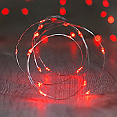 20 Micro Red LED Battery Fairy Lights