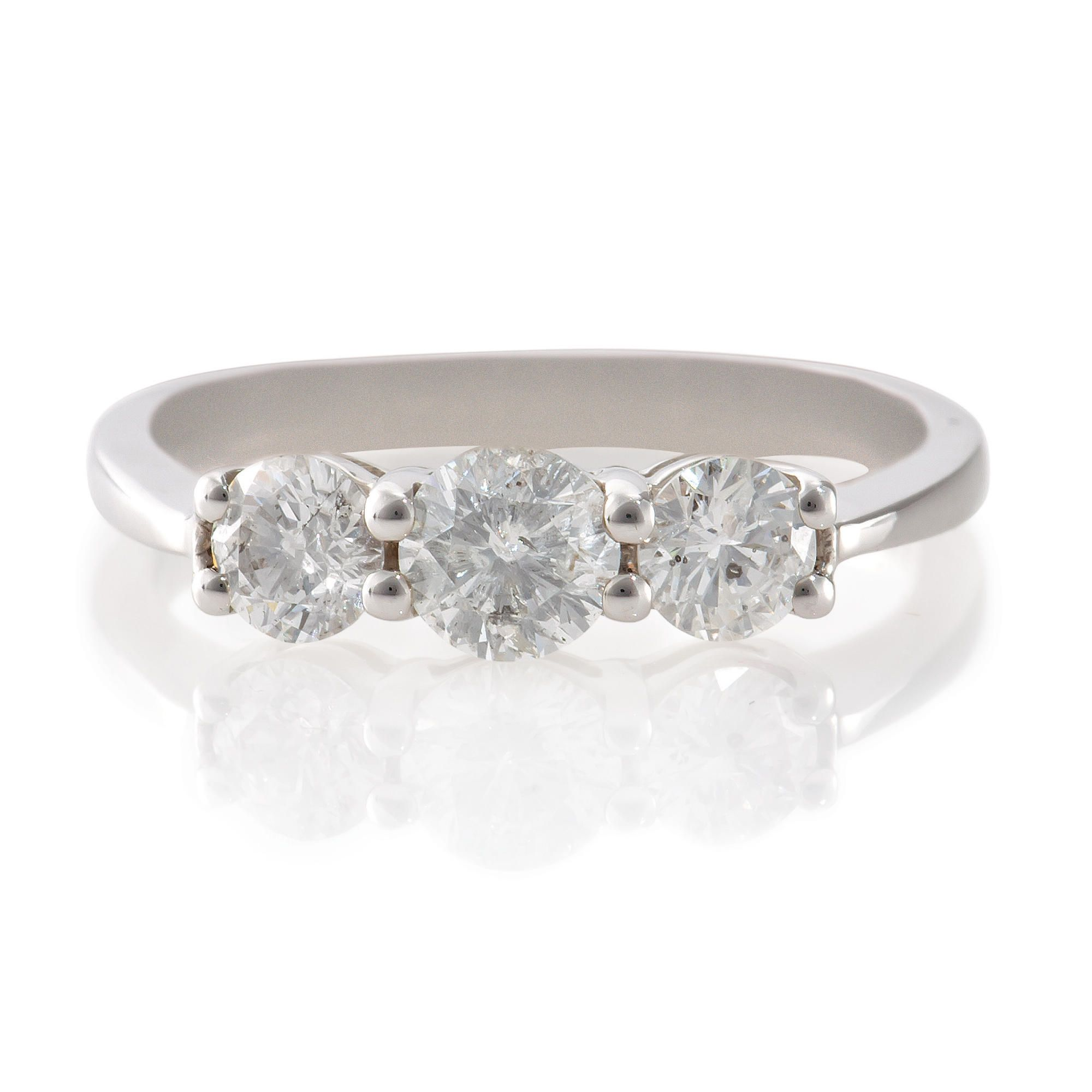 9ct White Gold 1ct Diamond 3 Stone Ring, N at Tesco Direct