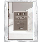 Tesco Soft Cotton Cover Pillow Twinpack