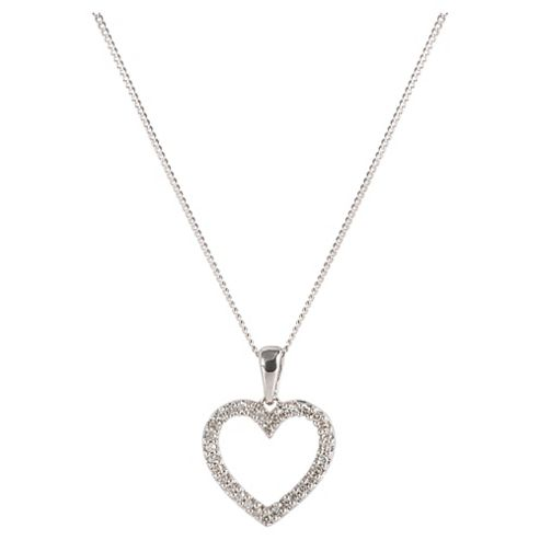 9ct White Gold Diamond Open Heart Pendant