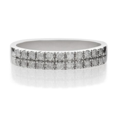 9ct White Gold 25Pt Diamond Double Row Ring, L