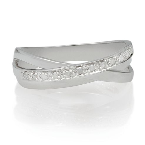 9ct White Gold Diamond Triple Crossover Ring, L