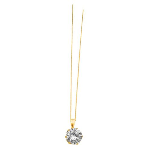 9ct Gold Round Cubic Zirconia Pendant