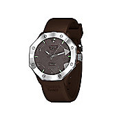 Tresor Paris Watch - ISL - Stainless Steel Bezel & Crystal Dial - Brown Silicone Strap - 44mm