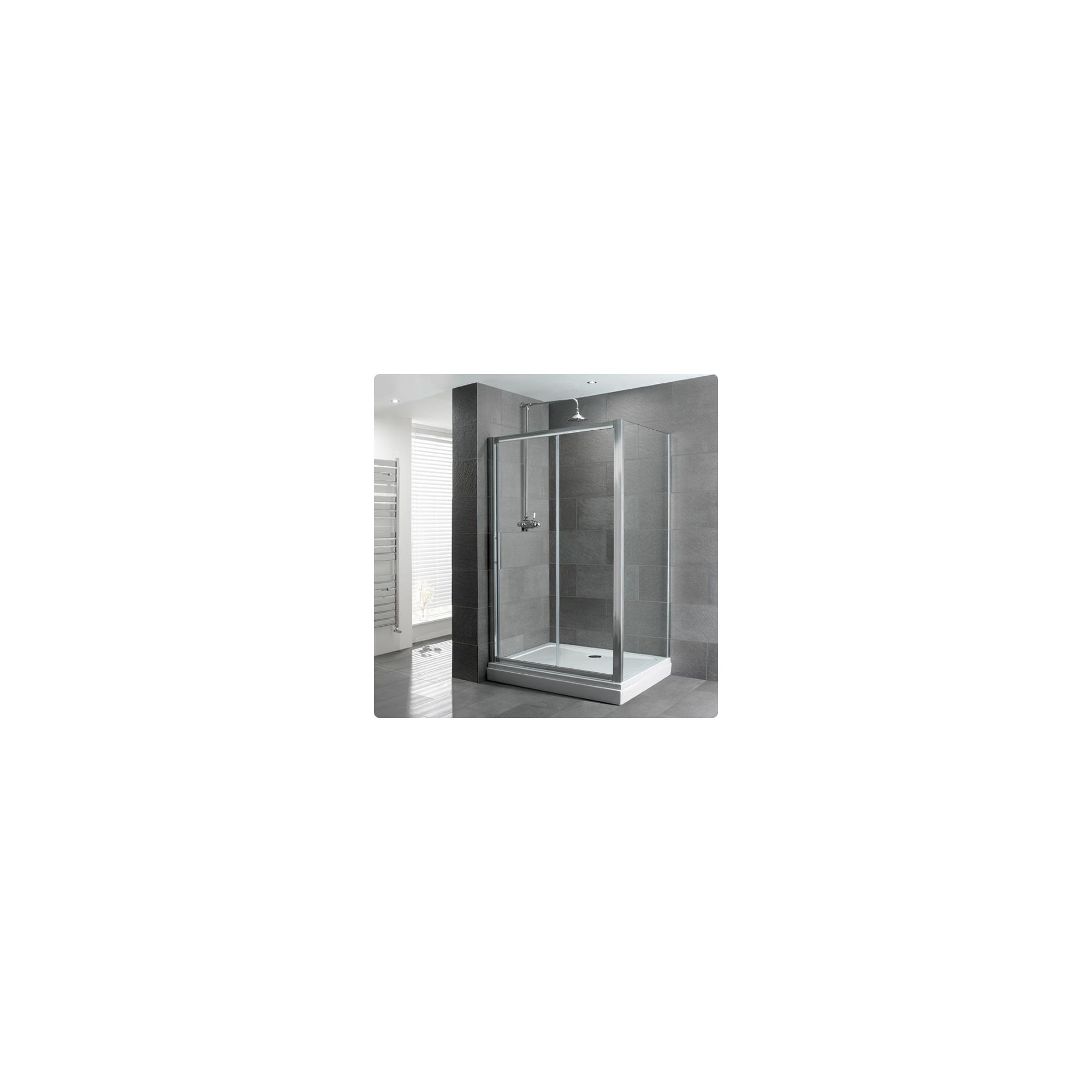 Duchy Select Silver Single Sliding Door Shower Enclosure, 1200mm x 760mm, Standard Tray, 6mm Glass at Tesco Direct