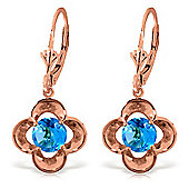 QP Jewellers 1.10ct Blue Topaz Corona Earrings in 14K Rose Gold