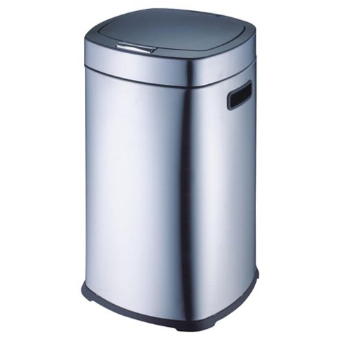 Tesco 30L square stainless steel touch open bin