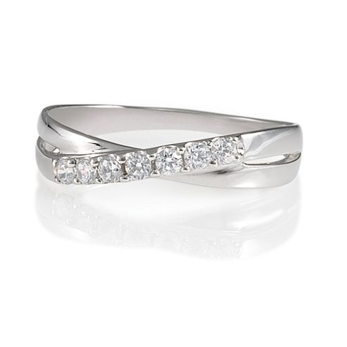 9ct White Gold Cubic Zirconia Crossover Ring, N