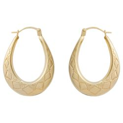9ct Gold Diamond Cut Creole Earrings
