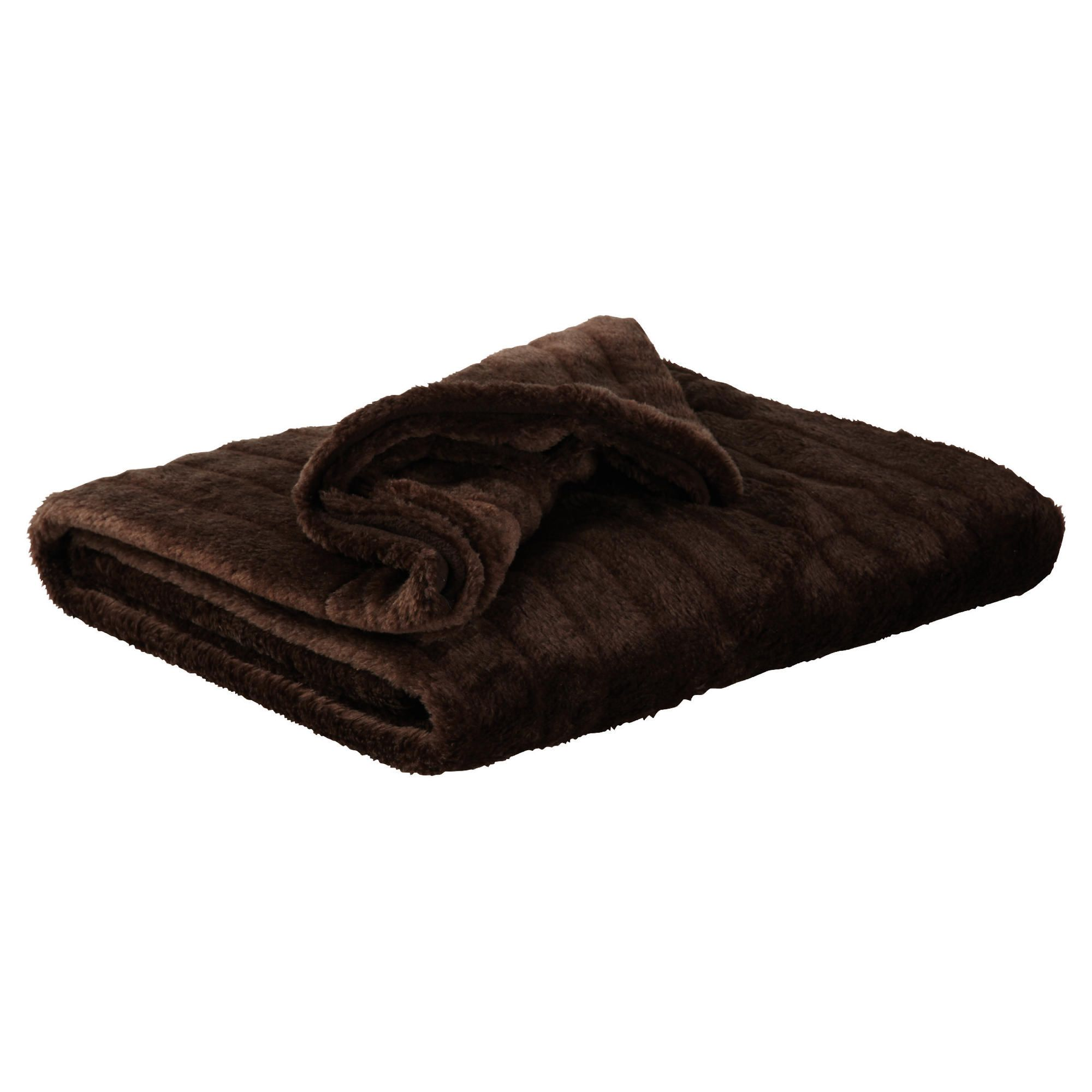 F&F home Ribbed Faux Fur Throw - Chocolate