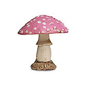 Short Round Pink Head Resin Mushroom Toadstool Garden Ornament