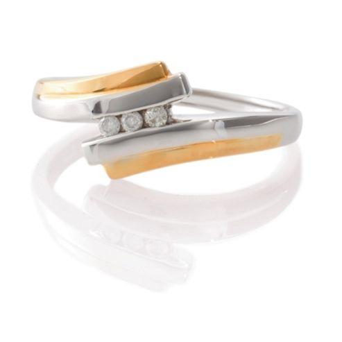 9ct Two Tone Gold Diamond Ring, L