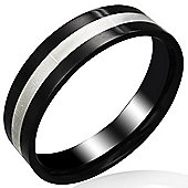 Urban Male Stainless Steel Two Colour Black & Silver Men's Band Ring 6mm