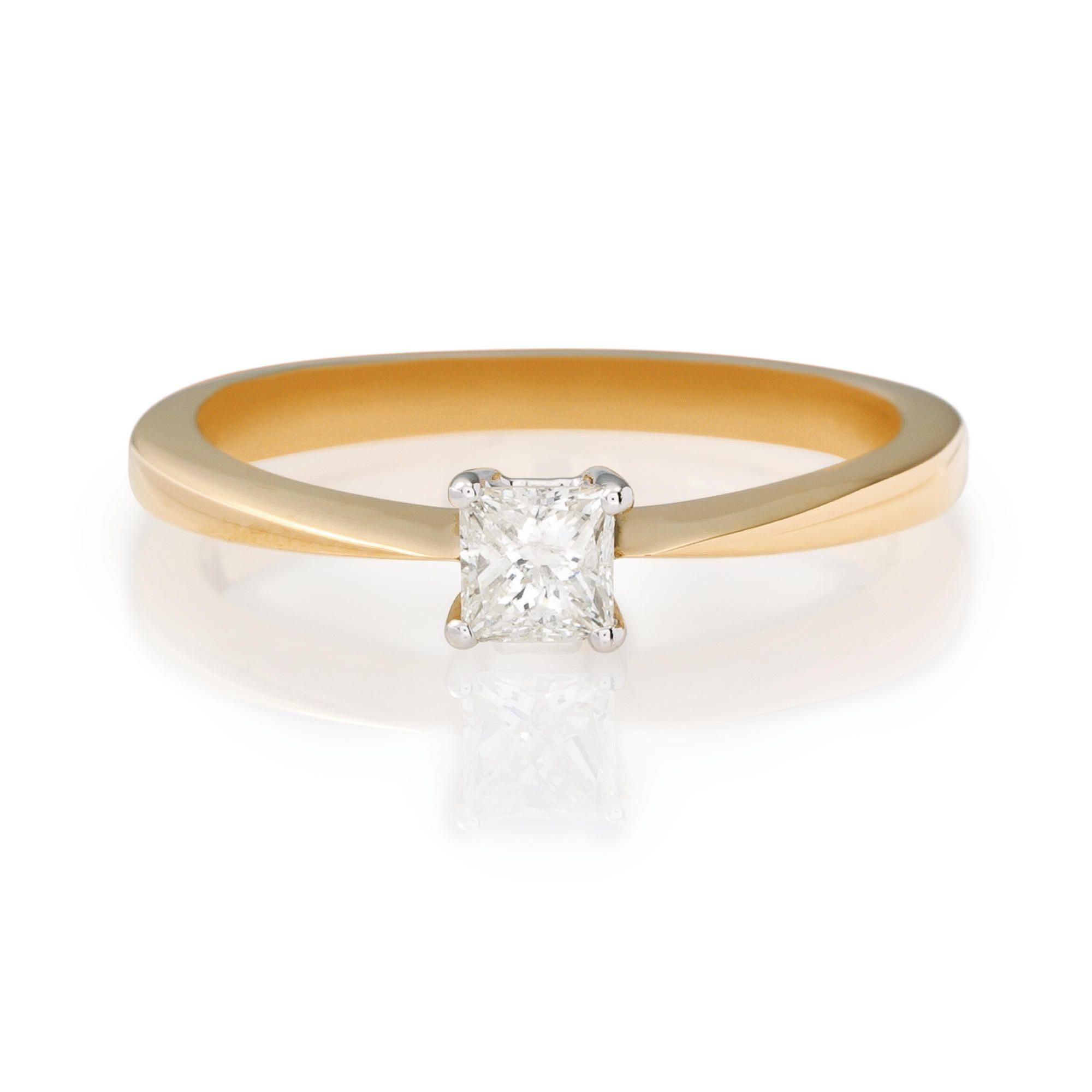 18ct Gold 1/4ct Princess Cut Ring,  L at Tesco Direct
