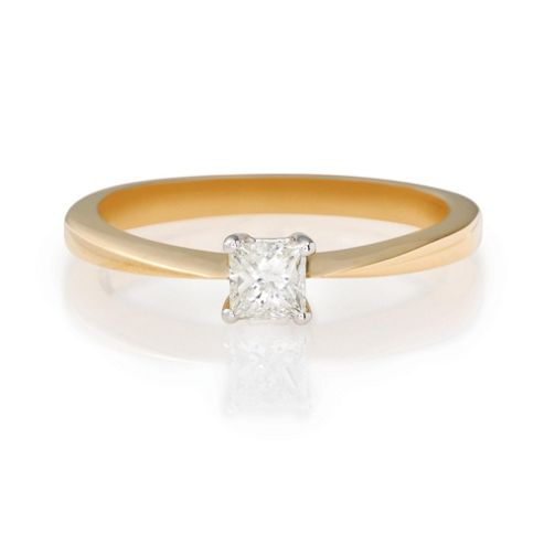 18ct Gold 1/4ct Princess Cut Ring, L