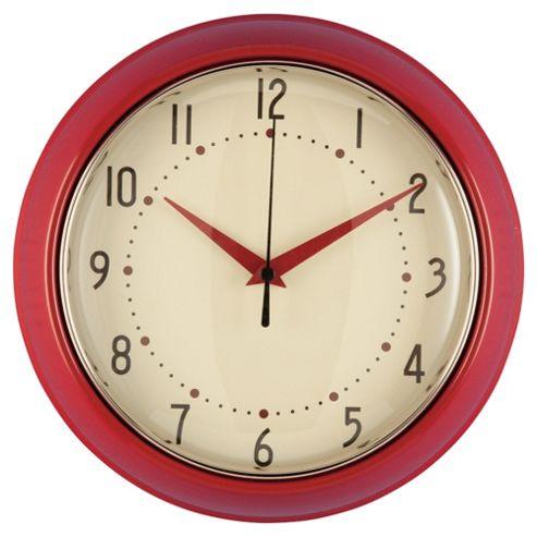 Tesco Clocks Retro Clock, Red