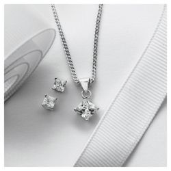 Sterling Silver Cubic Zirconia Princess Cut Earring And Pendant Set