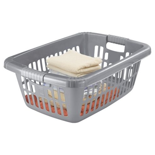 Tesco 40L Plastic Laundry Basket, Grey