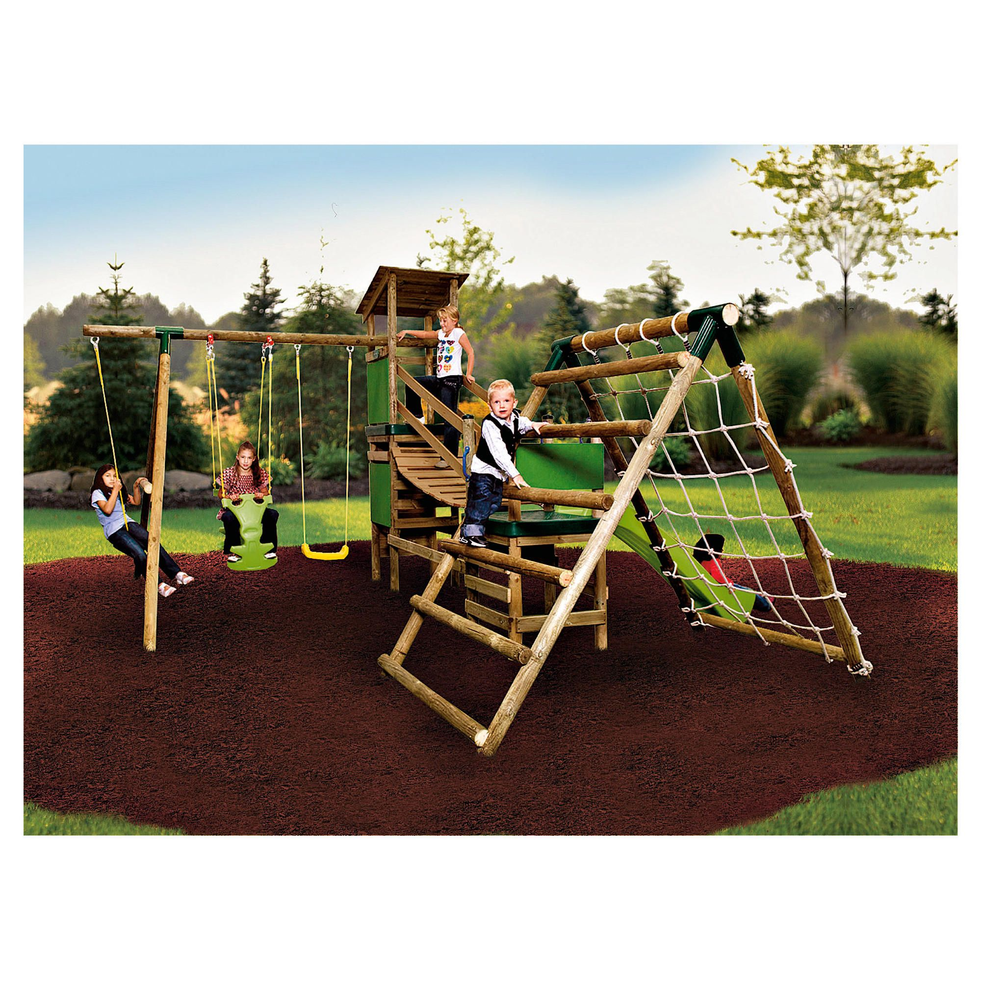 Little Tikes Marlow Bridge Climb 'n' Slide Wooden Swing Set at Tesco Direct