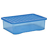 Plastic Underbed Storage Box with Lid - 32L - Blue
