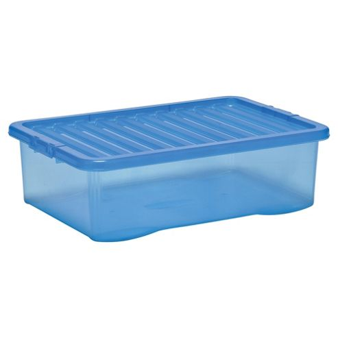 Tesco 32 Litre Plastic Underbed Storage Box with Lid, Blue