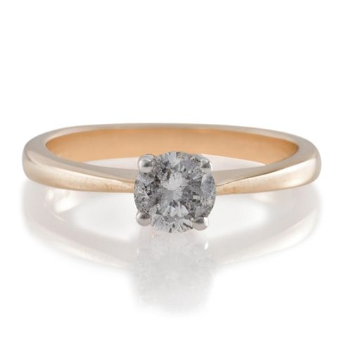 9ct Gold 50Pt Diamond Solitaire Ring, L