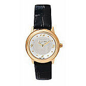 """Cross Chicago Ladies Round, Rose-gold/leather watch"""