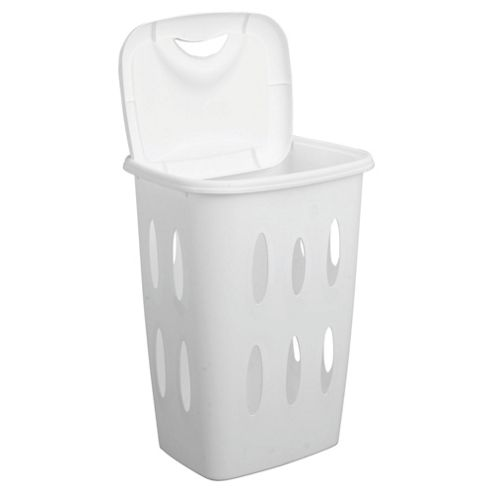 Tesco Basics 45L Plastic Laundry Basket, White