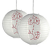 Pair of White Sphere Paper Lantern Ceiling Shades with Hibiscus Design
