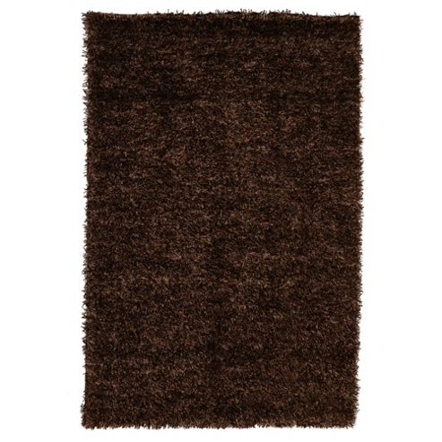 Tesco Rugs Glamourous Shaggy Rug, Mocha 70x140cm