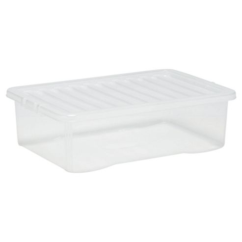Tesco 32 Litre Plastic Underbed Storage Box with Lid, Clear