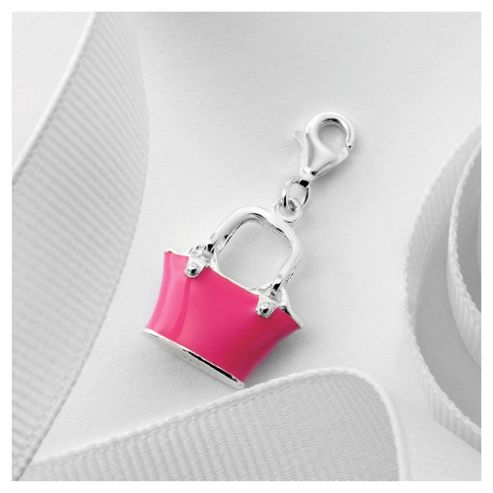 Sterling Silver Pink Handbag Charm