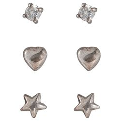 Sterling Silver Star, Heart And Cubic Zironia 3 Stud Set
